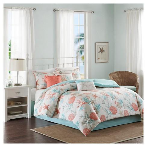 Ocean View Comforter Set Coral   7pc : Target