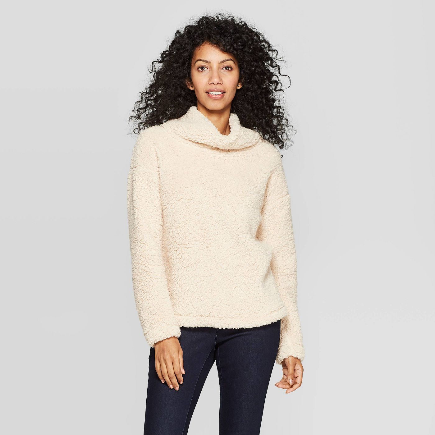 Women's Any Day Long Sleeve Turtleneck Sherpa Pullover - A New Day™ - image 1 of 3