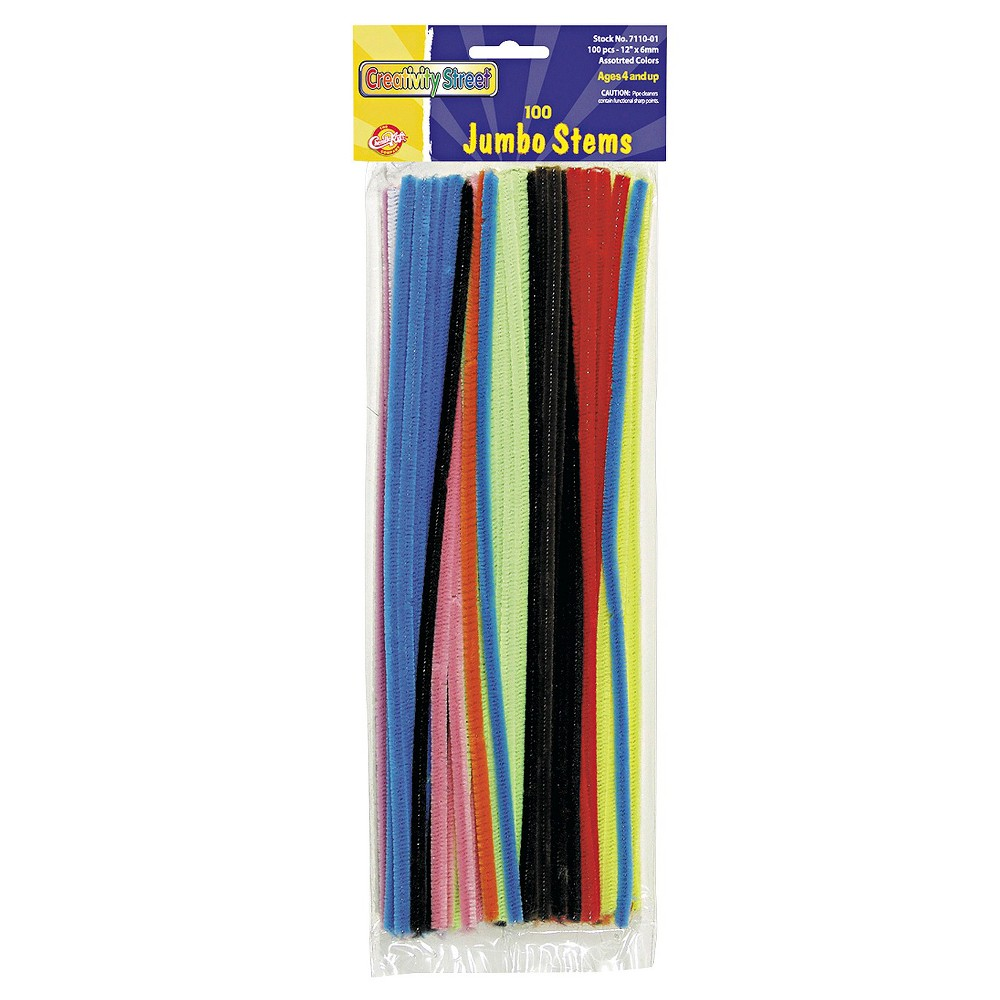 Chenille Kraft Jumbo Stems, 12 x 6mm, Metal Wire, Polyester - Multi-Colored (100 Per Pack), Mult-Colored