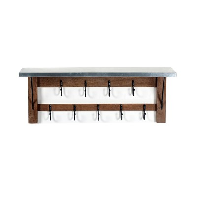 Millwork Bench with Open Coat Hook Shelf Wood and Zinc Metal Silver/Light Amber - Alaterre
