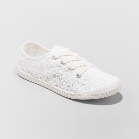 812ae2861 Women s Mad Love Lennie Sneakers Lace Up Crochet Flexible Bottom - Beige 9    Target