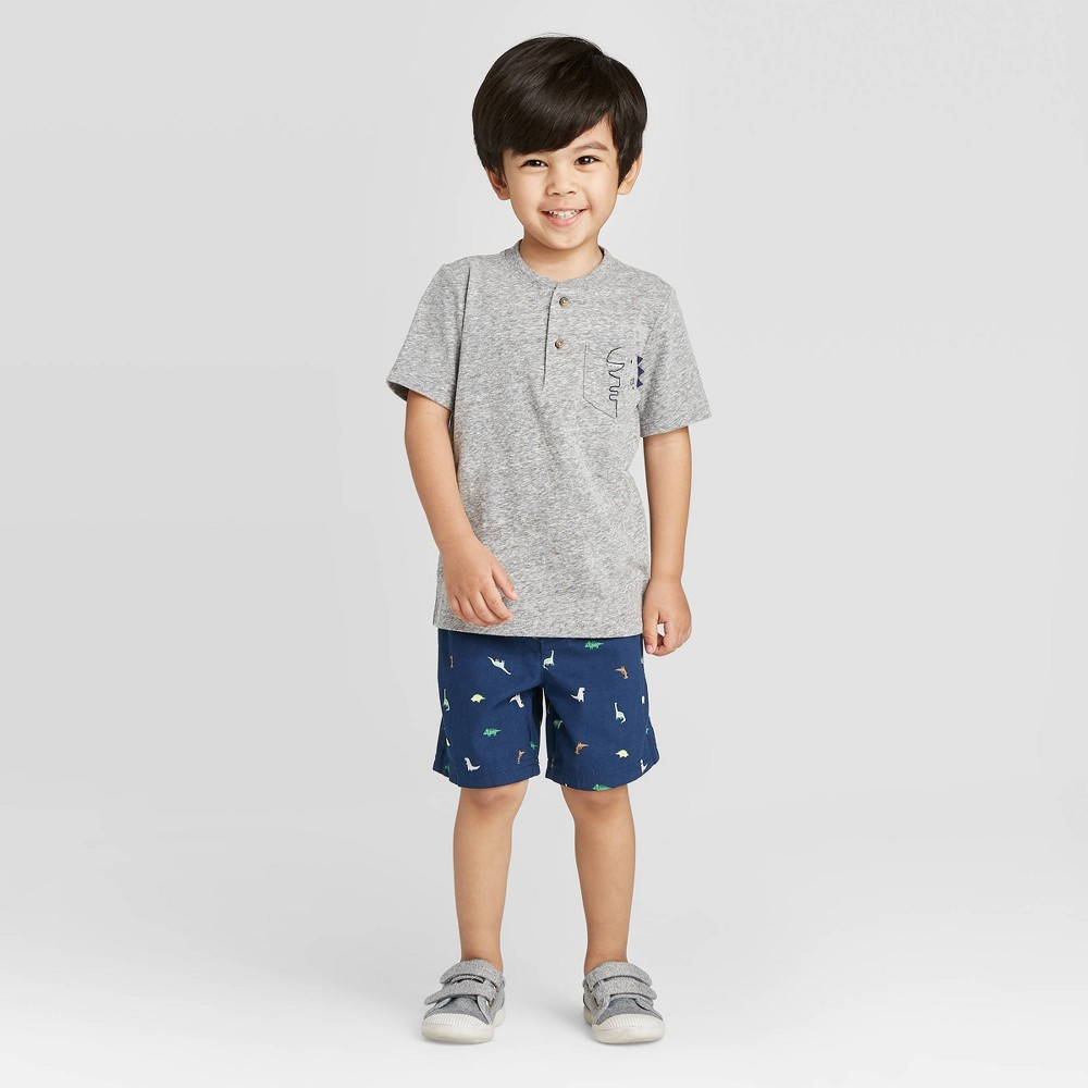 Toddler Boys 39 2pc Dino Top And Bottom Set Just One You 174 Made By Carter 39 S Gray Navy 2t