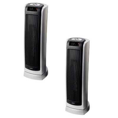 Lasko Portable Electric 1500W Room Oscillating Ceramic Tower Space Heater w/ Remote, Adjustable Thermostat, Digital Controls, & 8 Hour Timer (2 Pack)
