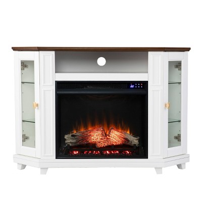Ruldon Touch Panel Fireplace with Media Storage White/Brown - Aiden Lane