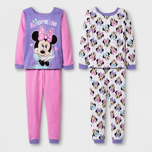 215ae28229 Toddler Girls  Minnie Mouse 4pc Cotton Pajama Set - Pink 4T   Target