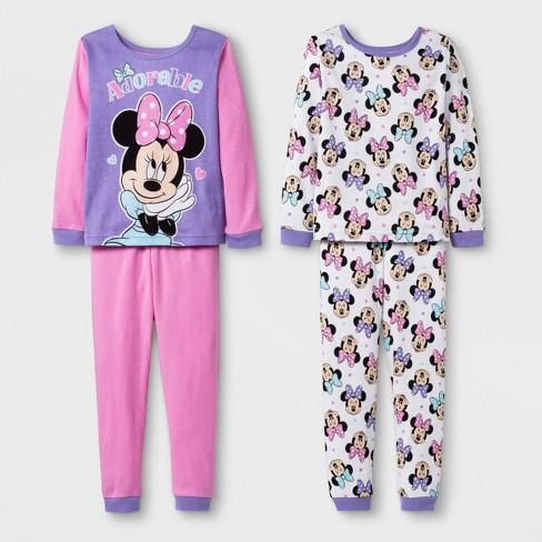 13c3801622 Toddler Girls  Minnie Mouse 4pc Cotton Pajama Set - Pink 4T   Target
