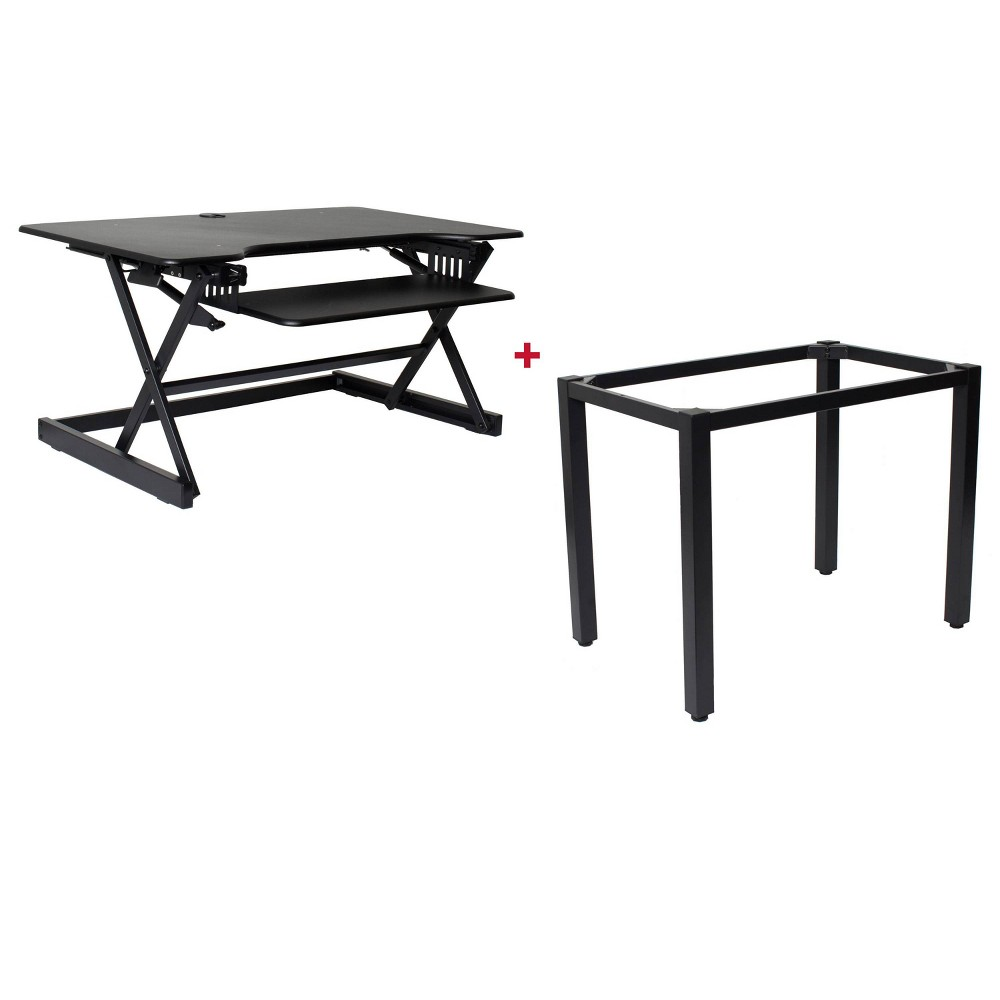 "Image of ""40"""" Height Adjustable Standing Desk Bundle Black - Rocelco, Size: 40"""""""