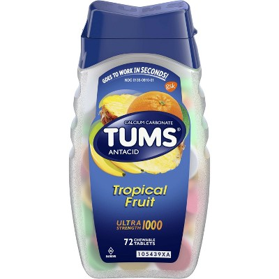 TUMS Ultra Strength Tropical Fruit Antacid Chewable Tablets 72ct