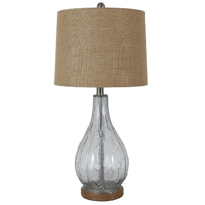"""27.5"""" Emma Embossed Glass Desk Lamp Clear - Decor Therapy"""