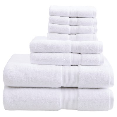 8pc Bath Towel Set White