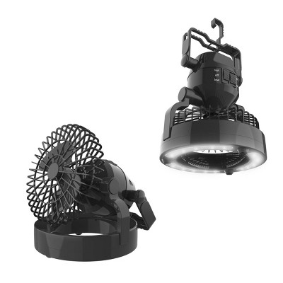 Wakeman Portable 2 in 1 LED Camping Lantern with Ceiling Fan - Black