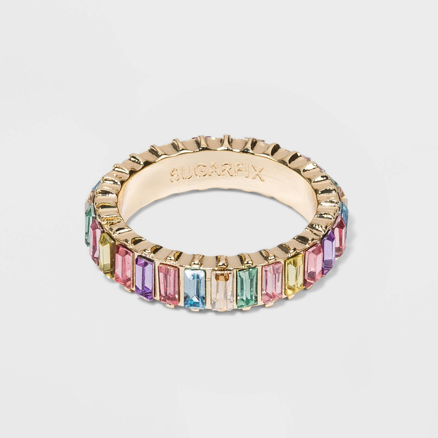 SUGARFIX by BaubleBar Baguette Light Pastel Rainbow Crystal Statement Ring - image 1 of 6