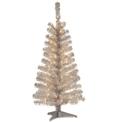 National Tree Company 4ft Pre Lit Silver Tinsel Artificial Tree With 70 Clear Lights by National Tree Company