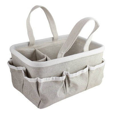 Beriwinkle Linen Diaper Caddy - Gray Sparkle