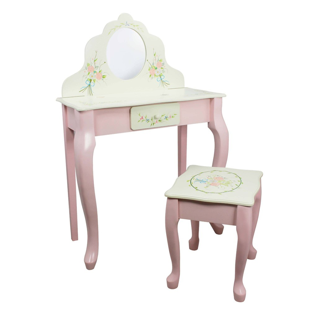 Image of Bouquet Fantasy Fields Classic Vanity Table & Stool Set - Teamson Kids