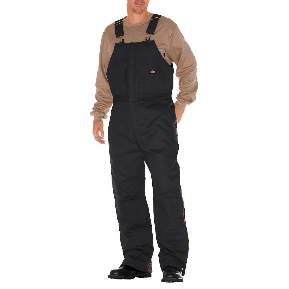 Dickies Men's Big & Tall Canvas Insulated Wide Leg Bib Overall- Black Xxx-Large Short, Size: 3X Short