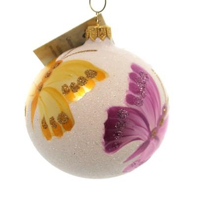 Christina's World Venetian Dew Butterfly Ornament Ball Glittered  -  Tree Ornaments