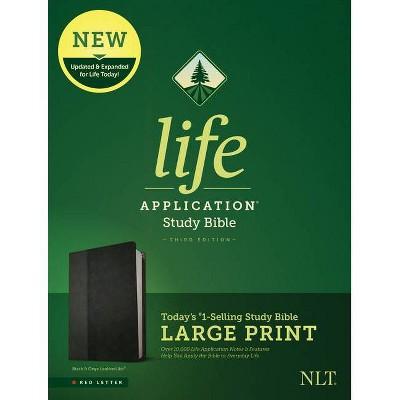 NLT Life Application Study Bible, Third Edition, Large Print (Leatherlike, Black/Onyx) - (Leather Bound)