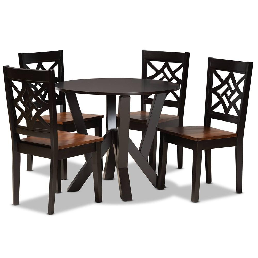 5pc Kaila Wood Dining Set Walnut Baxton Studio