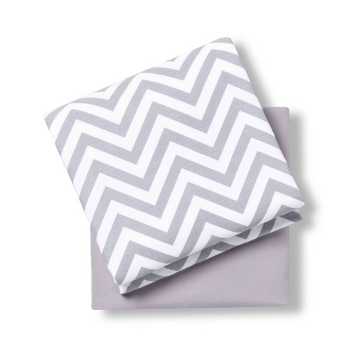Wipeable Changing Pad Cover Grey//White with Plush Sides Chevron