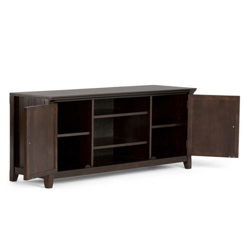 Normandy Solid Wood Tv Media Stand Tobacco Brown For Tvs Up To 60