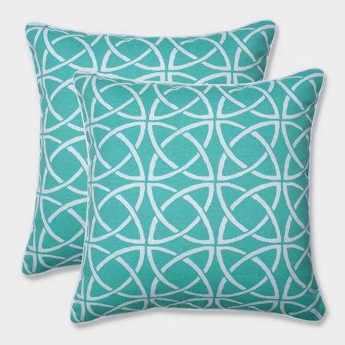 """18.5"""" 2pk Catamaran Tile Throw Pillows Green - Pillow Perfect - image 1 of 1"""