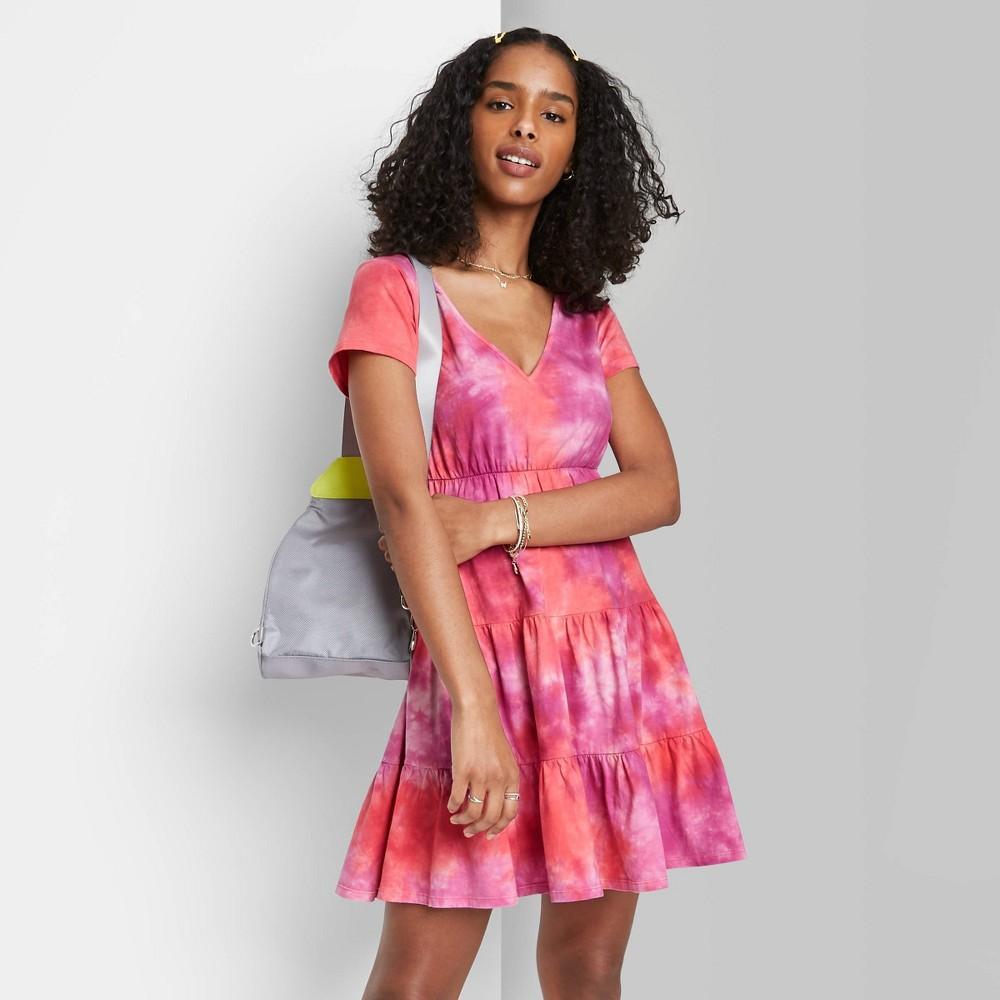 Women 39 S Short Sleeve Tiered Knit Babydoll Dress Wild Fable 8482 Pink Tie Dye M