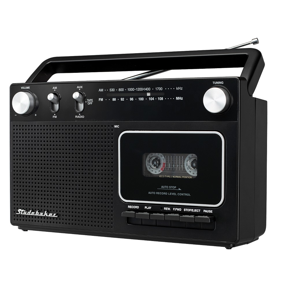 Studebaker Portable Cassette Player/Recorder with AM/FM Radio and AC/DC Operation (SB2129) - Black Not only can you play your cassettes on the Studebaker SB2129, you can record from the radio or aux-in jack with the built in condenser mic. This Cassette Player/Recorder features an AM/FM Radio, carrying handle to take it anywhere you want. It comes with the AC detachable power cord and can also be operated by 6 C batteries (not included). Color: Black.