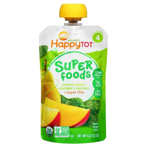 Happy Tot Spinach, Mango & Pear Organic Superfoods - 4.22oz - image 1 of 4