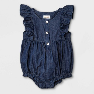 Baby Girls' Denim Short Romper - Cat & Jack™ Blue 0-3M