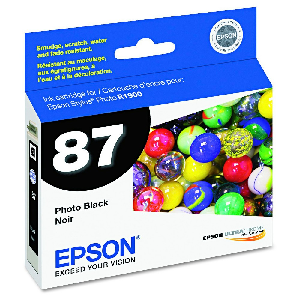 Epson 87 Single Ink Cartridge - Black (EPST087120) Brilliant color is delivered with the Epson UltraChrome Hi-Gloss 87 Inkjet Cartridge - Black (EPST087120). The Epson printer ink works with high-volume print jobs to deliver consistent color on your professional and home-based print jobs. The printer ink cartridge is compatible with the Epson Stylus Photo R1900.