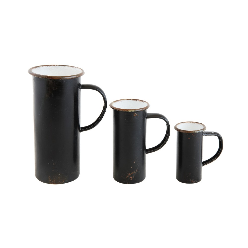 Image of 3pc Decorative Tin Pitchers Set Black - 3R Studios
