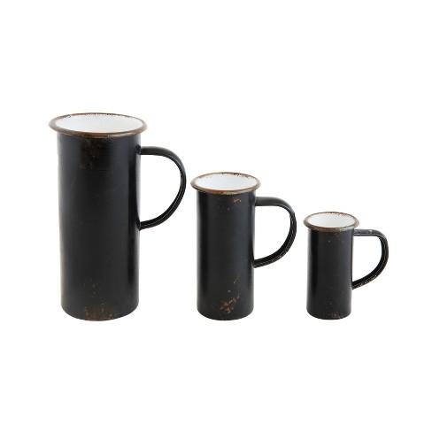 3pc Decorative Tin Pitchers Set Black - 3R Studios - image 1 of 2