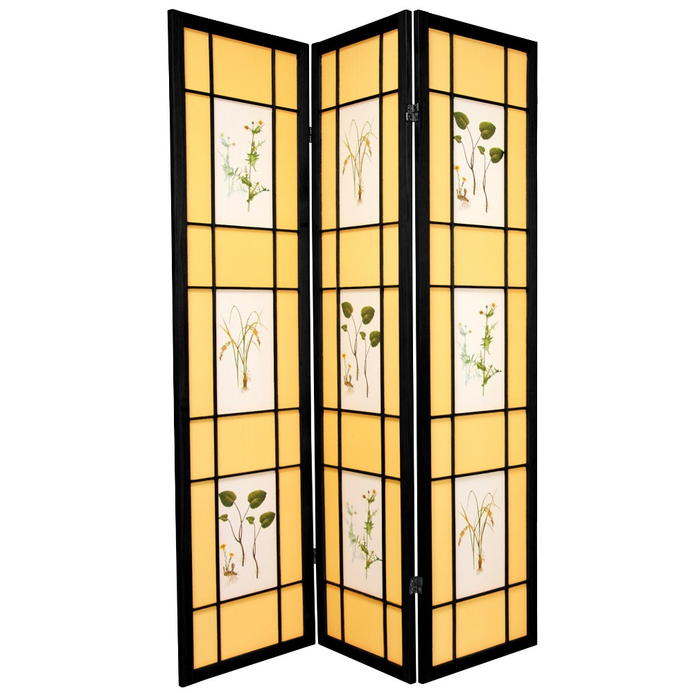 Oriental Furniture 6' Tall Herbal Floral Shoji Screen 3 Panel Black