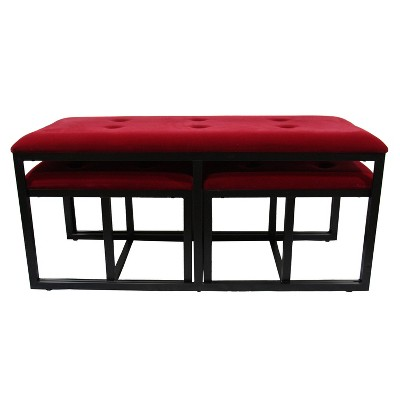 Tufted Metal Bench with 2 Seating Red - Ore International