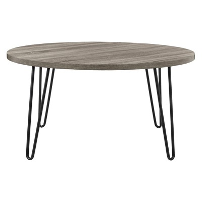 Heywood Retro Round Coffee Table Weathered Oak - Room & Joy