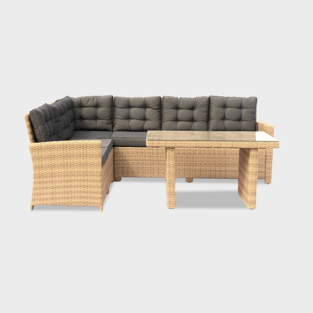 Image of 3pc Steel Outdoor Lounge Sectional Dining Set with Cushions - Taupe - Courtyard Casual