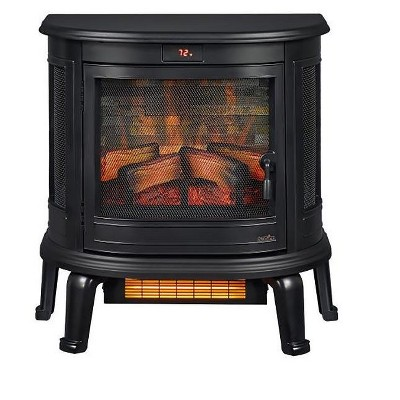Duraflame Black Curved Front 3D Infrared Electric Fireplace Stove with Remote Control - DFI-7117-01