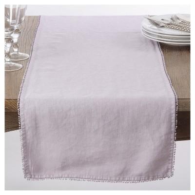"Lavender PomPom Design Table Runner (16""x72"")- Saro Lifestyle"