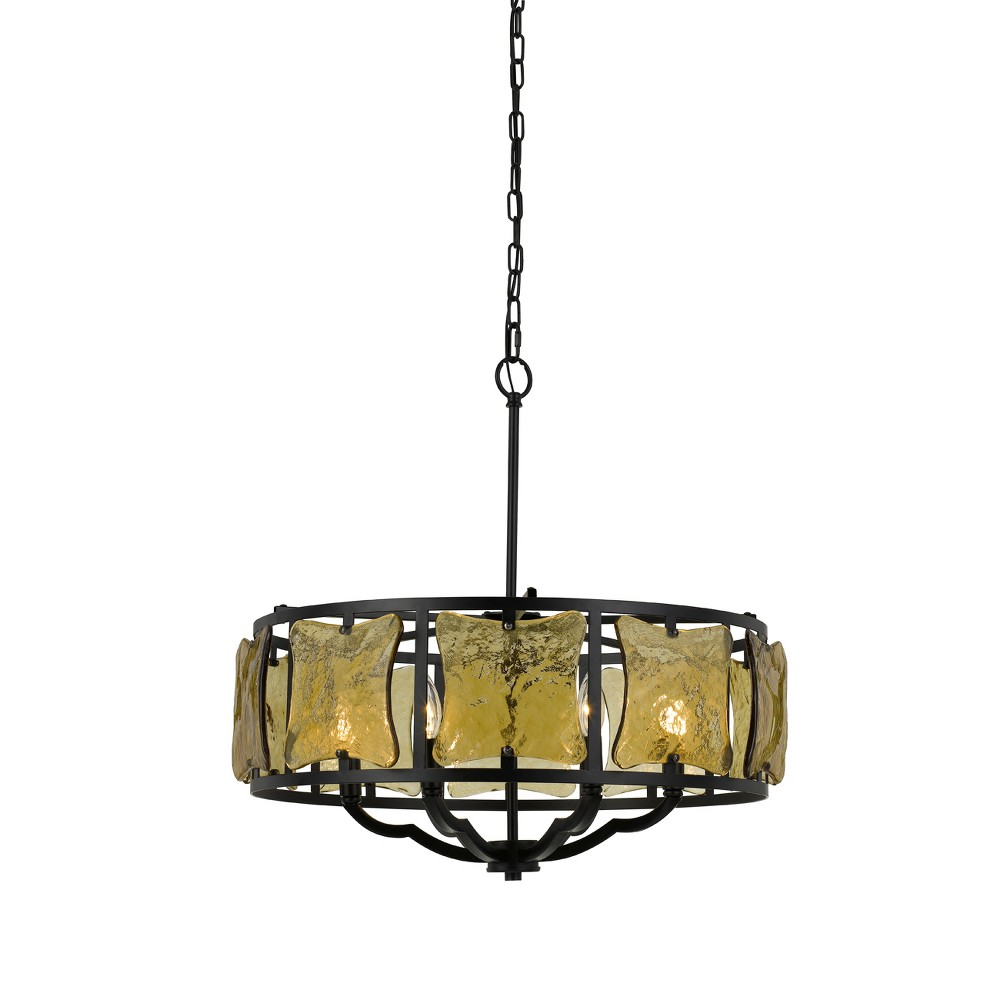 Ravenna Forged Iron Chandelier With Hand Crafted Glass Black 6.2
