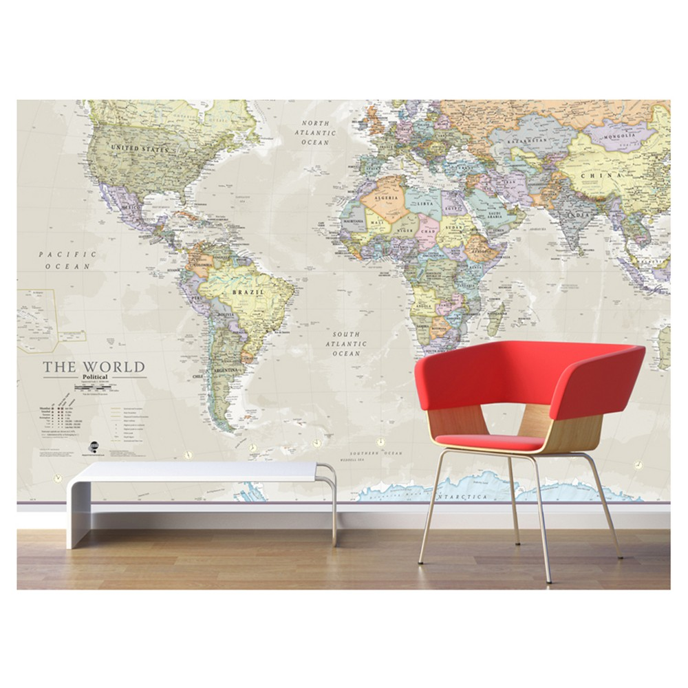 Image of Maps International Giant World Wall Map Mural - Antique