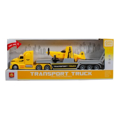 """Northlight 13.5"""" Yellow and Gray Airplane Carrying Transport Toy Truck with Lights and Sounds"""