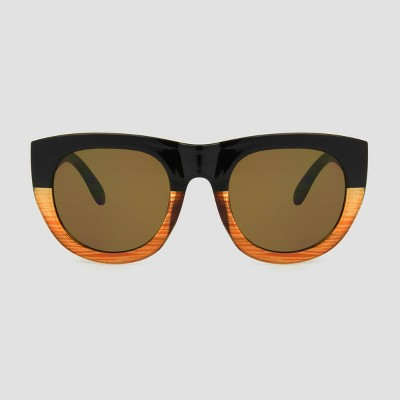 Women's Surf Sunglasses with Brown Solid Lenses - A New Day™ Black
