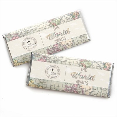 Big Dot of Happiness World Awaits - Travel Themed Candy Bar Wrappers Party Favors - Set of 24