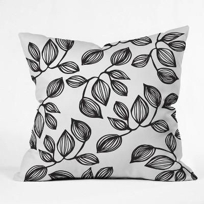 "16""x16"" Julia DaRocha The Leaves Throw Pillow Black/White - Deny Designs"