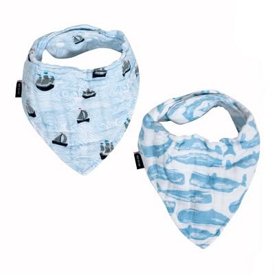 Bebe au Lait Muslin Bandana Bibs Seas/Moby - Blue 2pk
