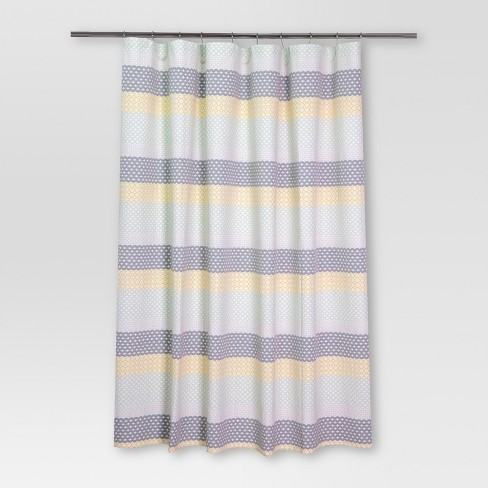 Pattern Stripe Shower Curtain Blue Yellow