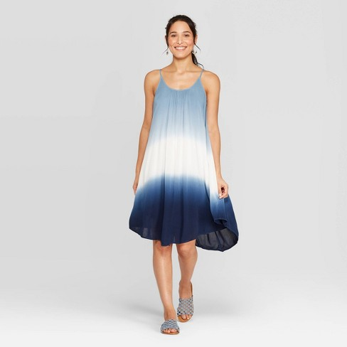 6514039f4f5 Women s Sleeveless Scoop Neck Strappy Dip Dye Dress - Knox Rose™ Blue