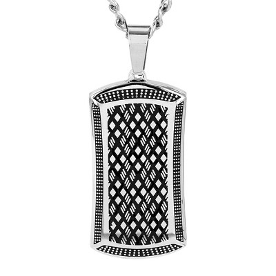 Crucible Men's High Polish Stainless Steel Antiqued Dog Tag Pendant