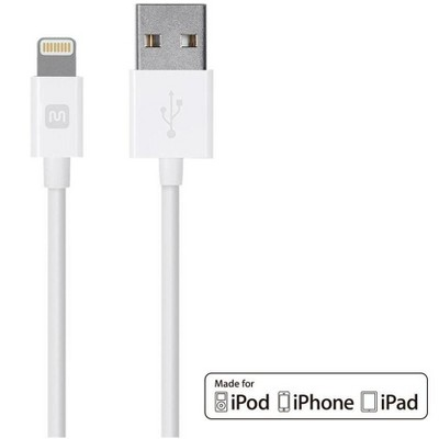Monoprice Apple MFi Certified Lightning to USB Charge & Sync Cable - 10 Feet - White | iPhone X, 8, 8 Plus, 7, 7 Plus, 6, 6 Plus, 5S - Select Series